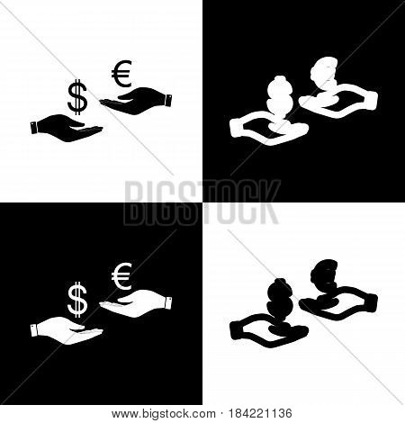 Currency exchange from hand to hand. Dollar adn Euro. Vector. Black and white icons and line icon on chess board.