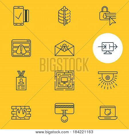 Vector Illustration Of 12 Data Protection Icons. Editable Pack Of Network Protection, Encoder, Browser Warning And Other Elements.