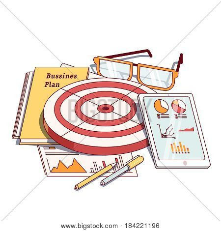 Business planning document next to analytics report, tablet computer, dartboard, stationeries. Goals achievement concept. Modern flat style thin line vector illustration isolated on white background.