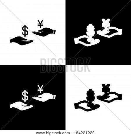 Currency exchange from hand to hand. Dollar and Yen. Vector. Black and white icons and line icon on chess board.