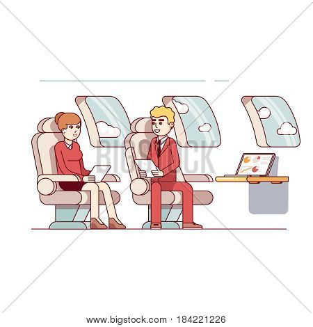 Businessmen siting in a business jet salon discussing upcoming negotiations. Business metaphor of highest level management. Modern flat style thin line vector illustration isolated on white background