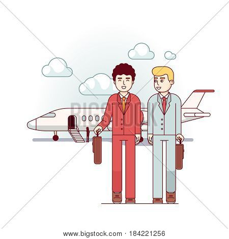 Businessmen coming from the private plane discussing upcoming negotiations. Business metaphor of highest level management. Modern flat style thin line vector illustration isolated on white background.