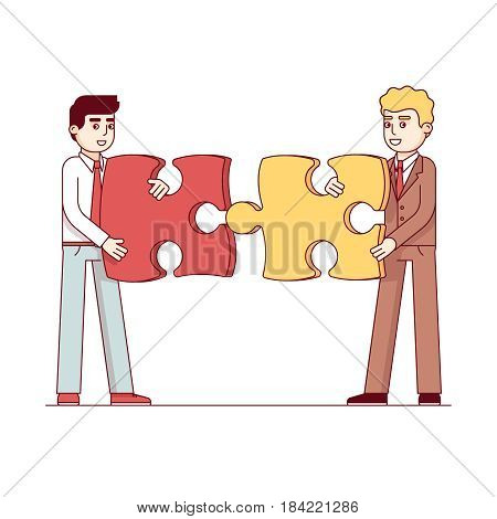 Business men gathering together large puzzle pieces. Business metaphor of a joint venture, partnership or teamwork. Modern flat style thin line vector illustration isolated on white background.