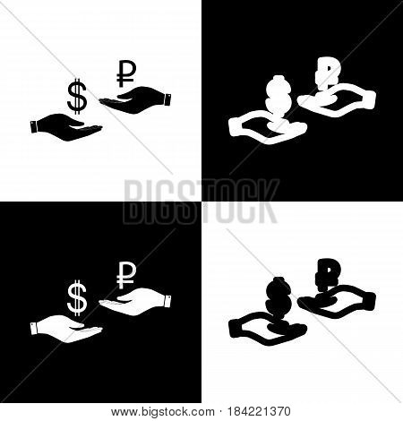 Currency exchange from hand to hand. Dollar and Ruble. Vector. Black and white icons and line icon on chess board.