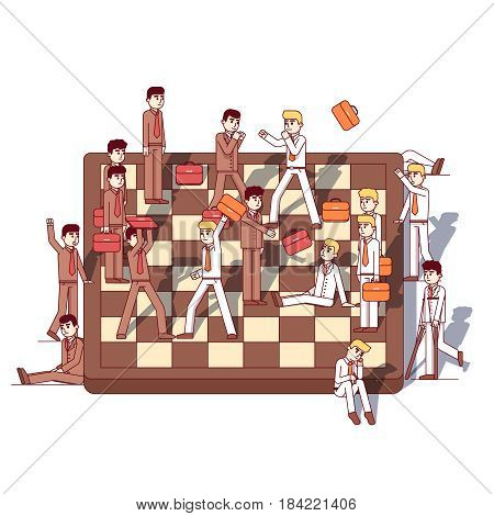Businessmen teams fighting on giant chessboard. Business metaphor of work conflict between colleagues, corporate lawsuit. Modern flat style thin line vector illustration isolated on white background.