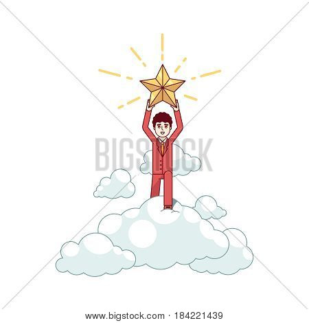 Businessman leader holding a big golden star of winners standing on a big cloud. Metaphor of triumph and achievement. Modern flat style thin line vector illustration isolated on white background.