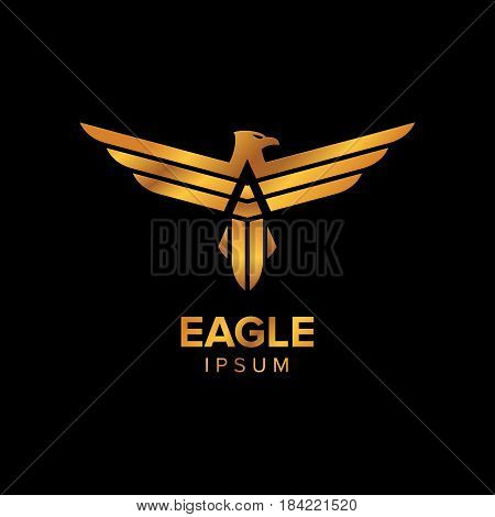 Creative Luxury Eagle Logo Design concept design with gold color luxury and professional feel. Very nice for brand identity