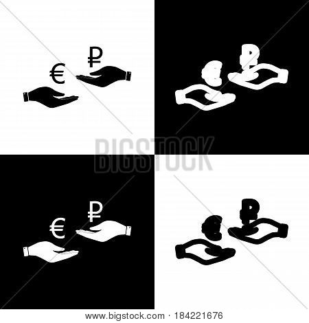 Currency exchange from hand to hand. Euro and Ruble. Vector. Black and white icons and line icon on chess board.