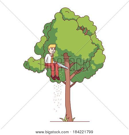 Business man sawing off the tree branch he is sitting on. Modern flat style thin line vector illustration isolated on white background.