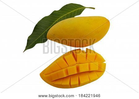 Ripe mango fruit.on isolated background and  leaf mango