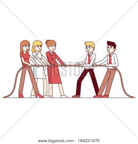 Business women and men teams in a tug of war competition. Metaphor of teamwork and determination. Modern flat style thin line vector illustration isolated on white background.