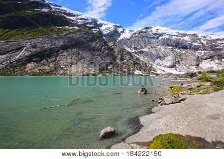 Mountains And Green Lake Water