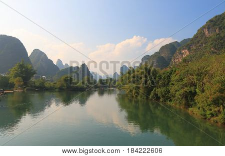 Bamboo rafting karst mountain landscape in Yangshou China