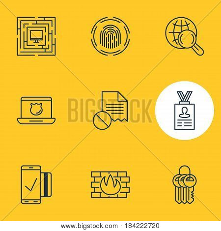 Vector Illustration Of 9 Protection Icons. Editable Pack Of Easy Payment, Account Data, Finger Identifier And Other Elements.