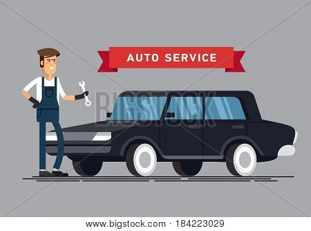 Car repair shop and auto service vector illustrations. Technical maintenance flat concept layout with mechanic character standing next to car lift, broken and ready to use repaired car