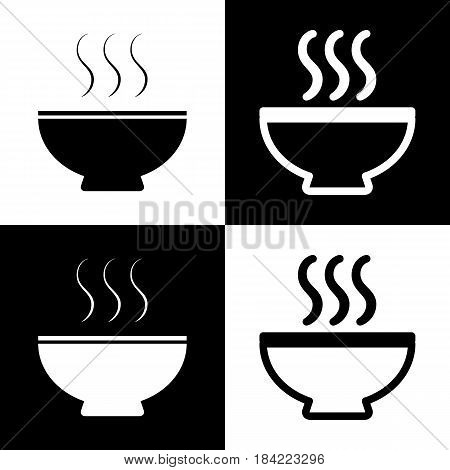 Soup sign. Vector. Black and white icons and line icon on chess board.