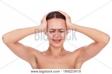 Beautiful girl touching her head with closed eyes. Woman having a strong migraine, stress, isolated on white background