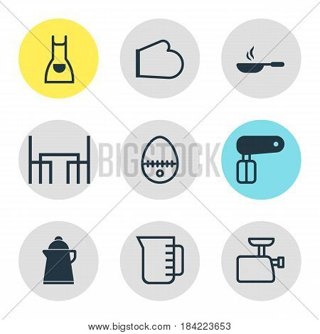 Vector Illustration Of 9 Cooking Icons. Editable Pack Of Whisk, Tea, Mincer And Other Elements.