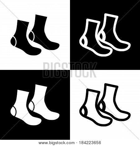 Socks sign. Vector. Black and white icons and line icon on chess board.