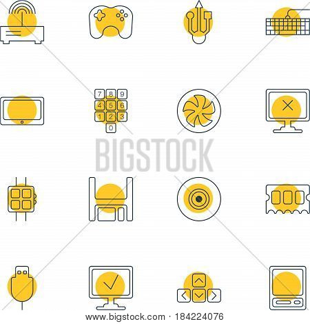 Vector Illustration Of 16 Computer Icons. Editable Pack Of Router, Cooler, Objective And Other Elements.