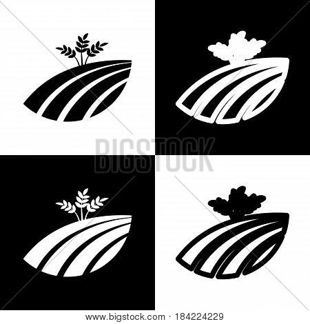 Wheat field sign. Vector. Black and white icons and line icon on chess board.