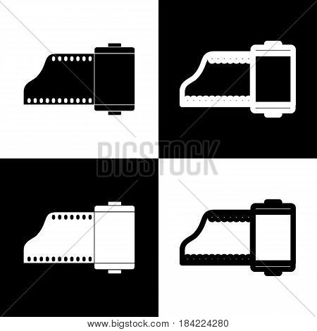 Old photo camera casset sign. Vector. Black and white icons and line icon on chess board.
