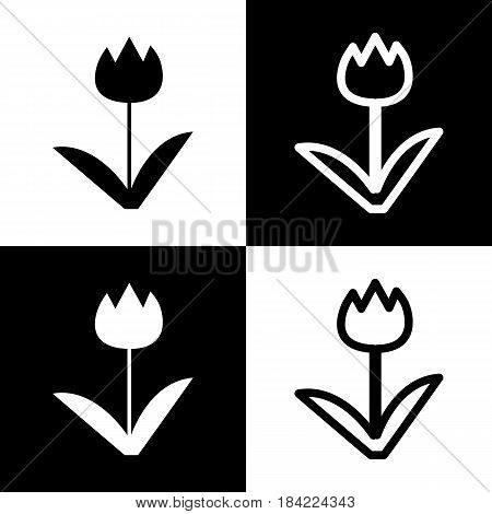 Tulip sign. Vector. Black and white icons and line icon on chess board.