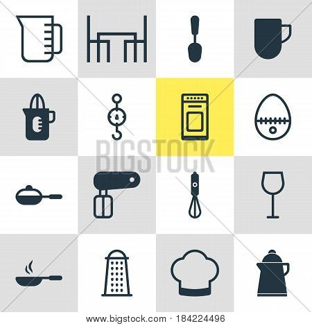 Vector Illustration Of 16 Kitchenware Icons. Editable Pack Of Shaker, Tablespoon, Wine And Other Elements.