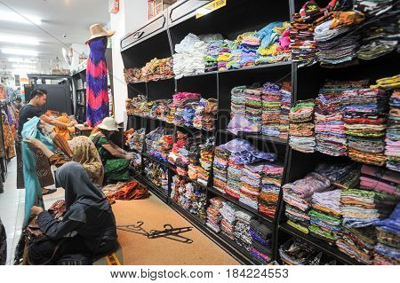 Woman Shopping Batik Clothes At Yogyakarta In Indonesia