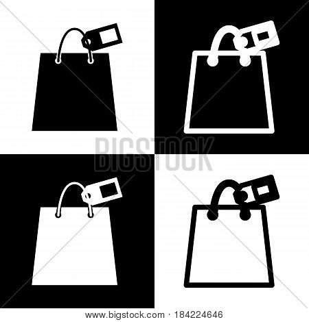 Shopping bag sign with tag. Vector. Black and white icons and line icon on chess board.