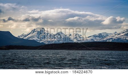 The mountains and snow in Tierra del Fuego park Argentina