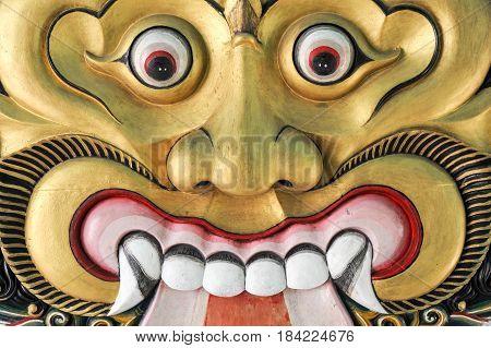 Yogyakarta, Indonesia - 29 January 2013: Thet mask in Yogyakarta Sultanate Palace Indonesia