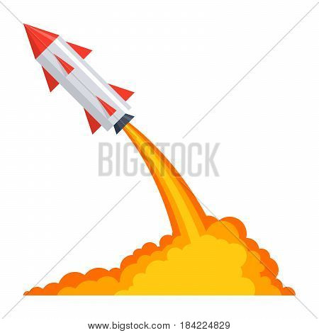 Ballistics concept with rocket launch, vector illustration in flat style