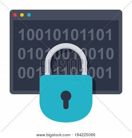 Cryptography concept with window program and lock, vector illustrations in flat style