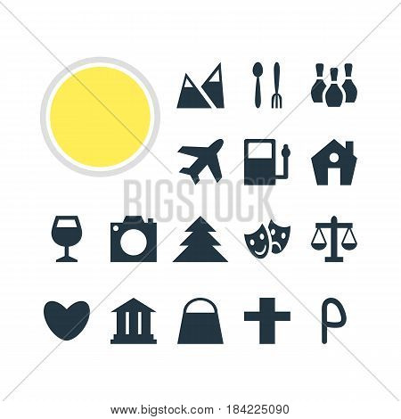 Vector Illustration Of 16 Check-In Icons. Editable Pack Of University, Cafe , Landscape Elements.