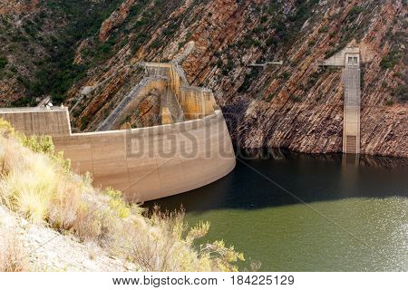 Landscape Shot Of The Dam Walls At The Kouga Dam