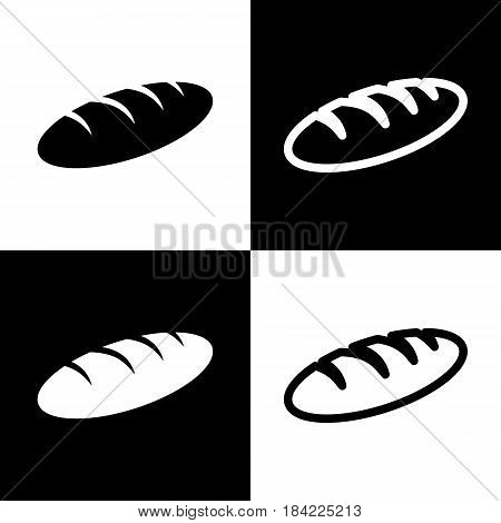 Bread sign. Vector. Black and white icons and line icon on chess board.