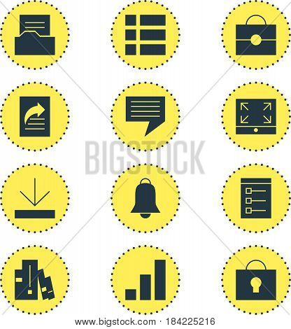 Vector Illustration Of 12 Web Icons. Editable Pack Of Notification, Maximize, Increase Chart And Other Elements.
