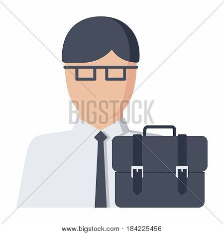 Jurisprudence concept with jurist and briefcase, vector illustration in flat style
