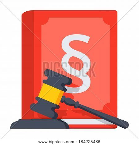Jurisprudence concept with judges gavel and law book, vector illustration in flat style