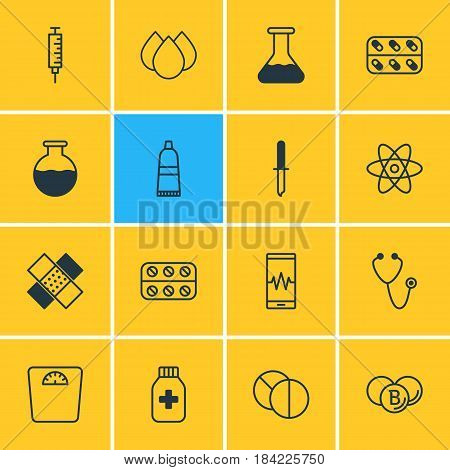Vector Illustration Of 16 Health Icons. Editable Pack Of Flask, Round Tablet, Trickle And Other Elements.