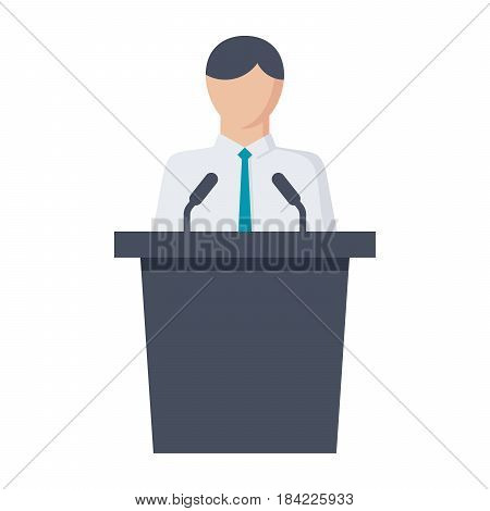 Political science concept with politician standing behind rostrum and giving speech, vector illustration in flat style