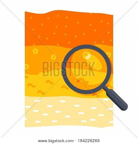 Soil science concept with soil profile and magnifying glass, vector illustration in flat style