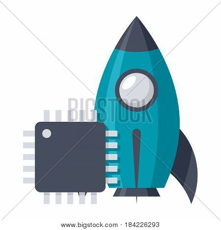 System engineering concept with rocket and cpu, vector illustration in flat style