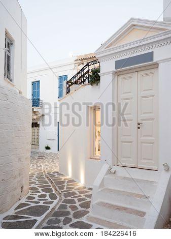 Traditional Street In A Greek Island