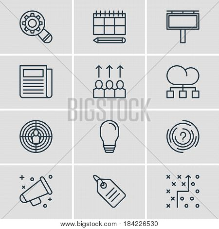 Vector Illustration Of 12 Advertising Icons. Editable Pack Of Daily Press, Advertising Billboard, Lamp And Other Elements.