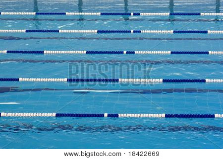 Swimming blue pool