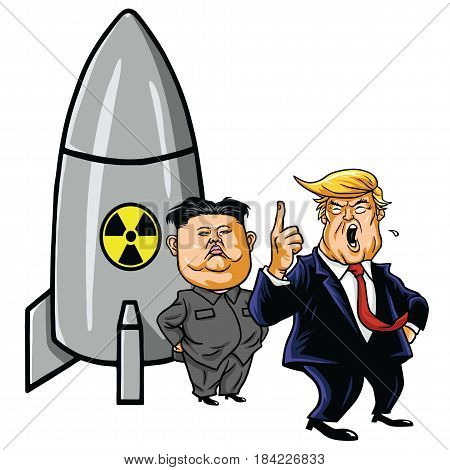 Kim Jong-un with Nuclear Missile against Trump. Cartoon Caricature Illustration Vector. May 1, 2017