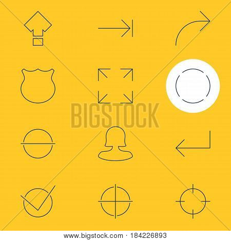 Vector Illustration Of 12 User Interface Icons. Editable Pack Of Tabulation Button, Guard, Female User And Other Elements.