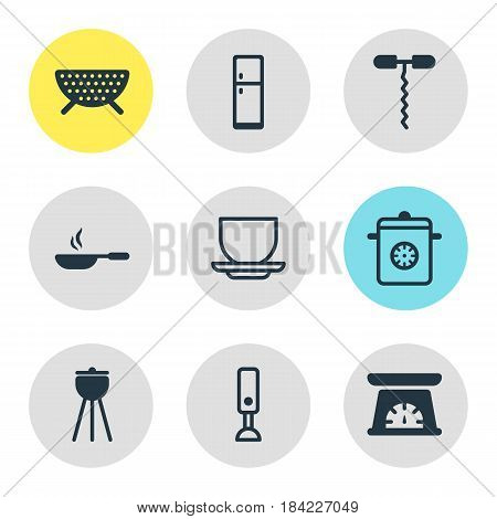 Vector Illustration Of 9 Cooking Icons. Editable Pack Of Refrigerator, Steamer, Measuring Tool And Other Elements.